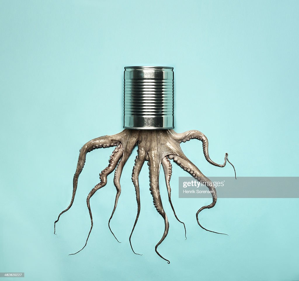 Combination of a can and a octopus