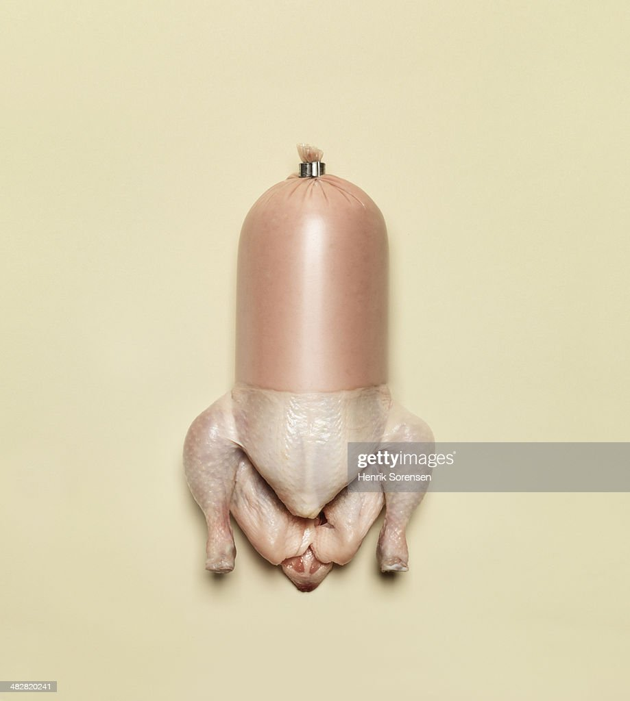 Combination of a chicken and sausage : Stock Photo