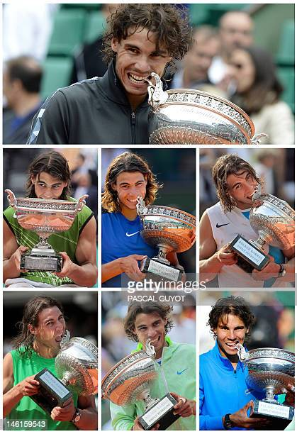 A combination of AFP files pictures made in Paris on June 11 shows Spanish Rafael Nadal biting his trophy after his seven victories in the men's...