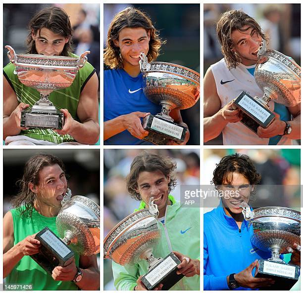A combination of AFP files pictures made in Paris on June 8 shows Spanish Rafael Nadal biting his trophy after his six victories in the men's final...