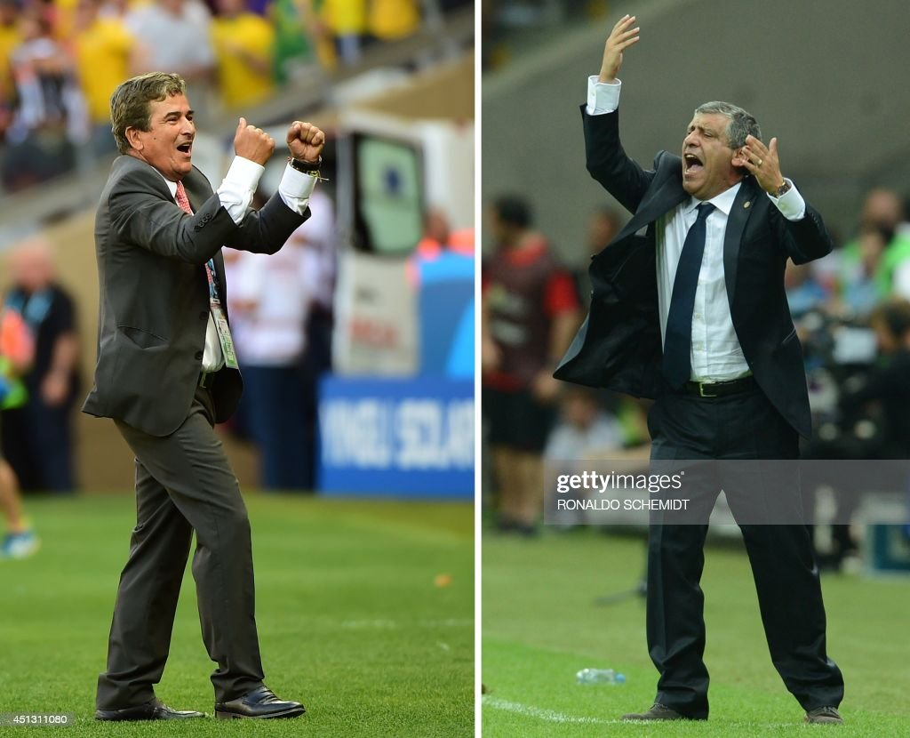 A combination of file images created on June 27, 2014 shows Costa Rica's Colombian coach <a gi-track='captionPersonalityLinkClicked' href=/galleries/search?phrase=Jorge+Luis+Pinto&family=editorial&specificpeople=2548389 ng-click='$event.stopPropagation()'>Jorge Luis Pinto</a> (L) celebrating after a 0-0 draw during a Group D match between Costa Rica and England at the Mineirao Stadium in Belo Horizonte during the 2014 FIFA World Cup on June 24, 2014 and Greece's Portuguese coach Fernando Santos reacting during the Euro 2012 championships football match Poland vs Greece at the National Stadium in Warsaw on June 8, 2012. Costa Rica will play Greece on June 29, 2014 at the Pernambuco Arena in Recife in their Round of 16 football match of the 2014 FIFA World Cup tournament in Brazil.