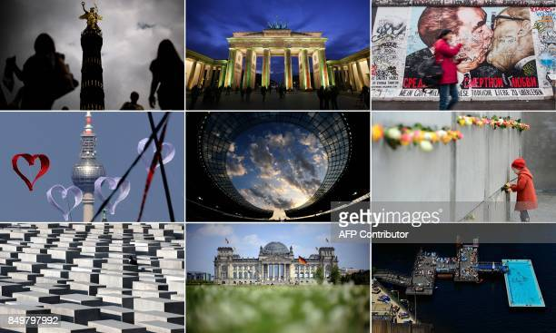 Combination of file pictures created on September 19 2017 shows sights taken in Germany's capital Berlin The Victory Column the Brandenburg Gate a...