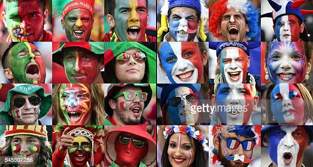 TOPSHOT A combination of file pictures made on July 8 2016 shows Portugal and France supporters during Euro 2016 football tournament France will face...