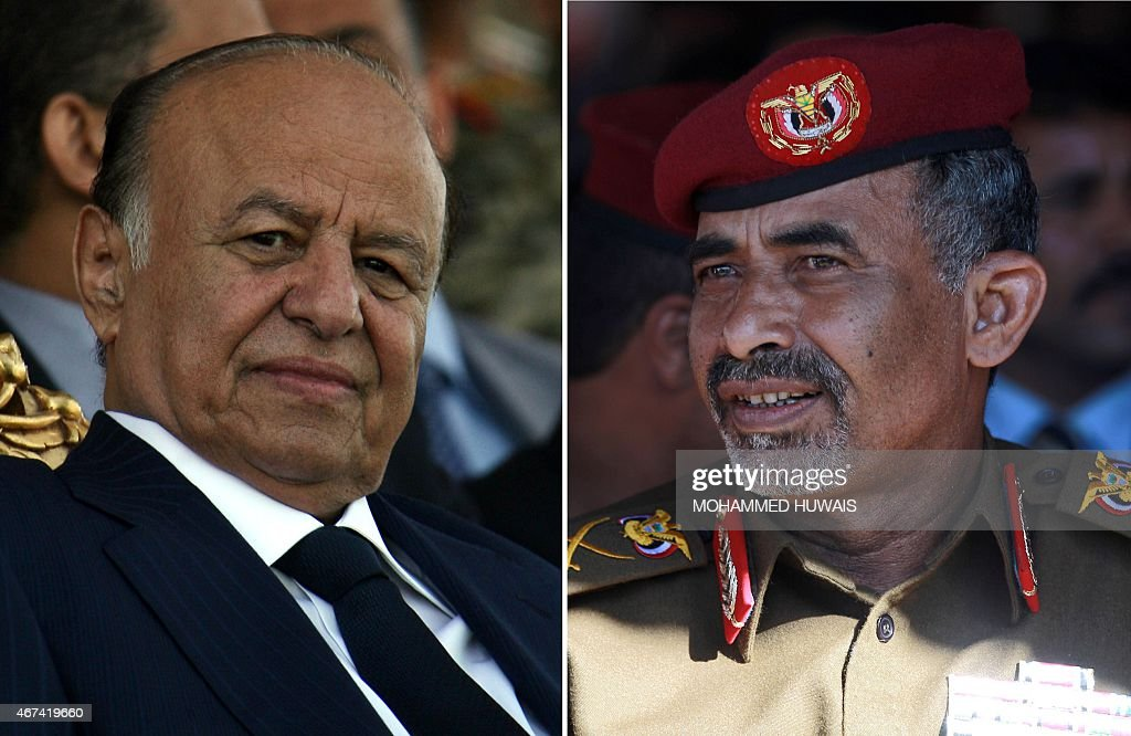 A combination of file pictures shows Yemeni President Abdrabuh Mansur Hadi attending a military parade on May 22 2012 and his Yemeni Defence Minister...