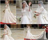 A combination of five pictures shows Kate Middleton arriving at the West Door of Westminster Abbey for her wedding with Britain's Prince William in...
