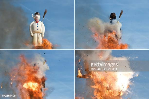 A combination of four pictures shows the Boeoegg a giant symbolic snowman made of wadding and and filled with firecrackers burning on top of a...