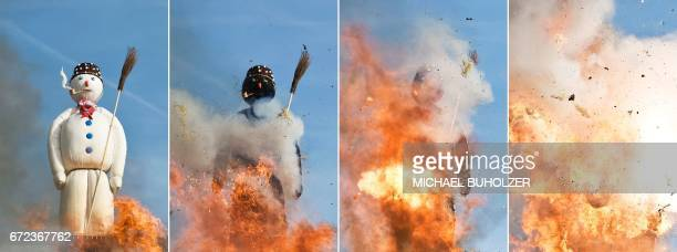 A combination of four pictures shows the Boeoegg a giant symbolic snowman made of wadding and filled with firecrackers burning on top of a bonfire in...