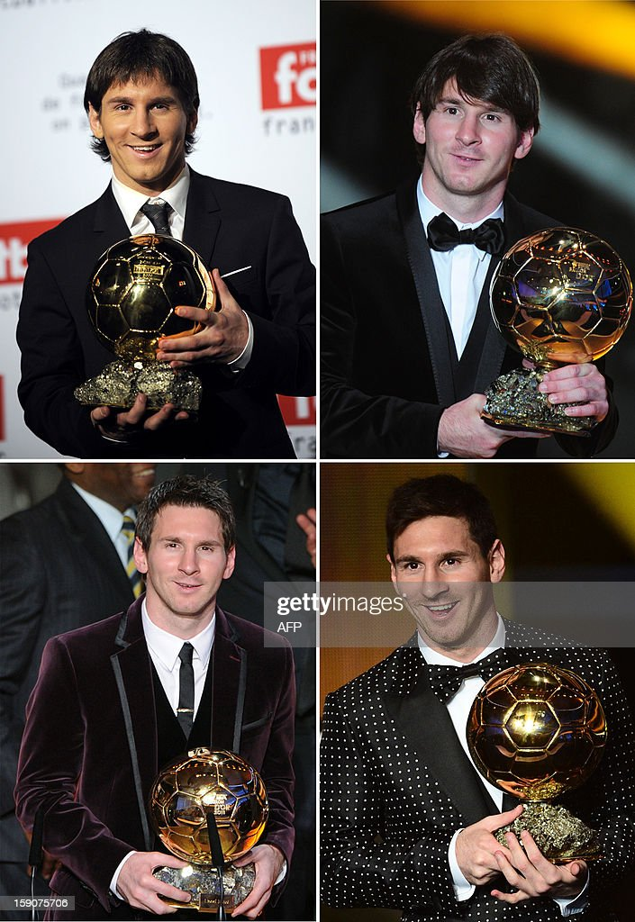 A combination of images from 2010 to 2013 (L-R TOP TO BOTTOM) shows Barcelona's Argentinian forward Lionel Messi posing with his 4 consecutive Ballon d'Or trophies. Lionel Messi added yet another record to his stellar list of achievements over the past 12 months on January 7, 2013 when he won an unprecedented fourth, consecutive, Ballon d'Or at a FIFA gala in Zurich. The accolade seals Messi's status as the greatest player of his generation after he saw off Real Madrid rival Cristiano Ronaldo and Barcelona teammate Andres Iniesta for the prize.