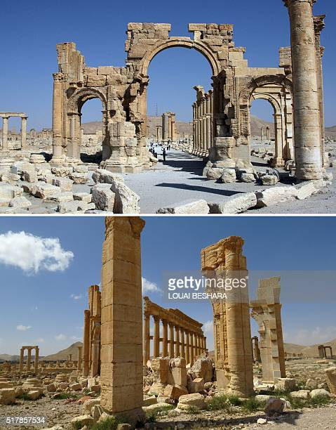 A combination of images shows a general view taken on June 19 2010 of the Arc de Troimphe prior to being destroyed by Islamic State group jihadists...