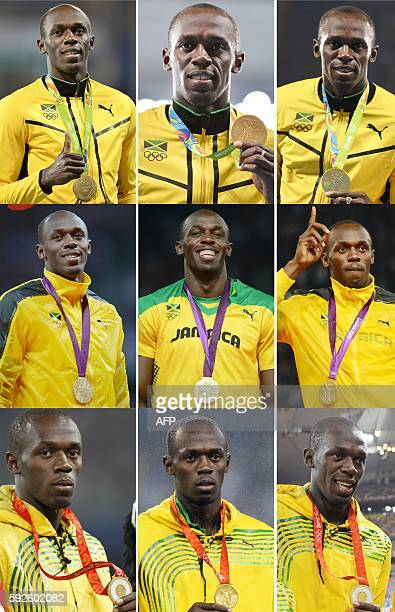 TOPSHOT A combination of nine pictures made on August 20 2016 shows Jamaica's sprinter Usain Bolt posing with his gold medals on the podiums of...