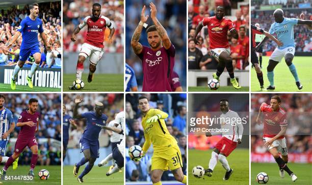 A combination of photographs created in London on August 31 2017 shows the players involved in the top 10 biggest deals in the Premier League Alvaro...