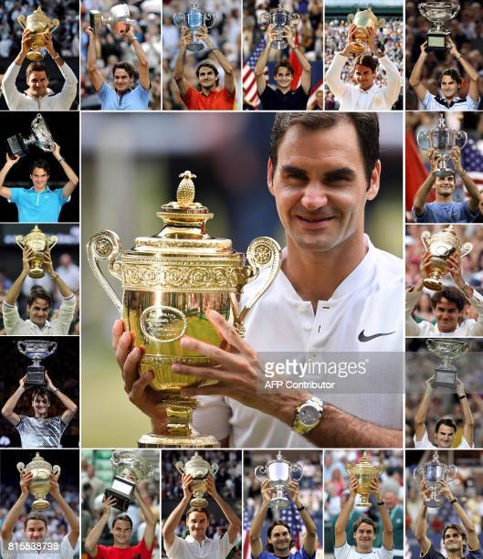 A combination of photographs created in Wimbledon southwest London on July 16 2017 shows Switzerlands Roger Federer holding up the trophy for each of...