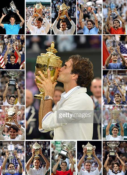 A combination of photographs created on July 8 2012 shows Roger Federer of Switzerland holding up his 17 Grand Slam trophies Swiss great Roger...