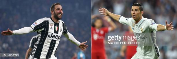A combination of pictures created in London on May 31 2017 shows Juventus' Argentinian forward Gonzalo Higuain celebrating after scoring against Roma...