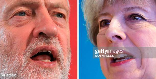 A combination of pictures created in London on May 31 2017 shows Britain's opposition Labour party Leader Jeremy Corbyn unveiling his plans for...