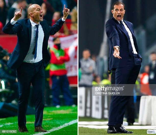 A combination of pictures created in London on May 31 2017 shows Real Madrid's French coach Zinedine Zidane shouting instructions during the Spanish...