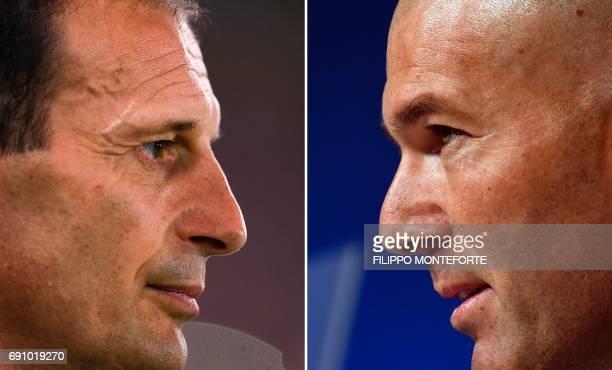 A combination of pictures created in London on May 31 2017 shows Real Madrid's French headcoach Zinedine Zidane at a press conference in Munich...