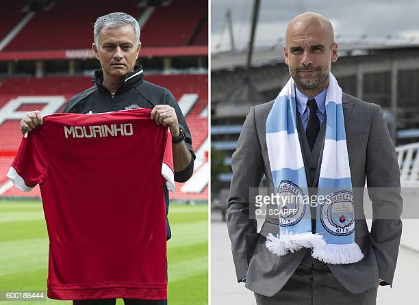 A combination of pictures created in London on September 8 2016 shows Manchester United's Portuguese manager Jose Mourinho posing during a photocall...