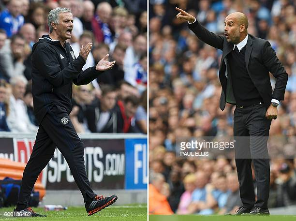 A combination of pictures created in London on September 8 2016 shows Manchester United's Portuguese manager Jose Mourinho shouting on the touchline...