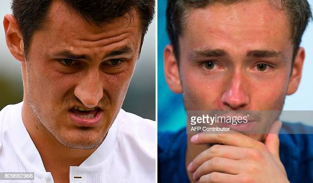 A combination of pictures created in Wimbledon southwest London on July 6 2017 shows Australia's Bernard Tomic reacting during his men's singles...