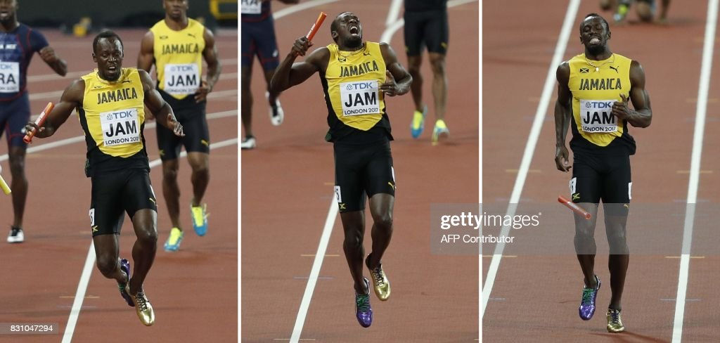 A combination of pictures created on August 13, 2017 shows Jamaica's Usain Bolt pulling up injured in the men's 4x100m relay athletics event at the 2017 IAAF World Championships at the London Stadium in London on August 12, 2017. Usain Bolt's glittering career swansong came crashing to an end when he pulled up injured on the anchor leg of the world 4x100m relay won by Britain on Saturday. Bolt received the baton with Jamaica in third, but halfway down the finishing straight the towering sprinter pulled up clutching his left thigh, eventually doing a forward roll to the ground, to gasps from the 60,000 sell out London Stadium. PHOTO / Adrian DENNIS