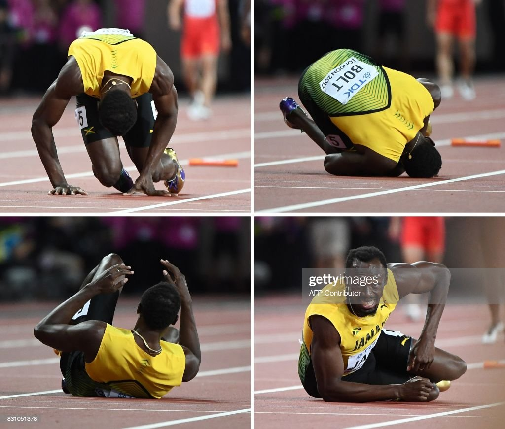 A combination of pictures created on August 13, 2017 shows Jamaica's Usain Bolt pulling up injured and rolling on the track in the men's 4x100m relay athletics event at the 2017 IAAF World Championships at the London Stadium in London on August 12, 2017. Usain Bolt's glittering career swansong came crashing to an end when he pulled up injured on the anchor leg of the world 4x100m relay won by Britain on Saturday. Bolt received the baton with Jamaica in third, but halfway down the finishing straight the towering sprinter pulled up clutching his left thigh, eventually doing a forward roll to the ground, to gasps from the 60,000 sell out London Stadium. PHOTO / Jewel SAMAD
