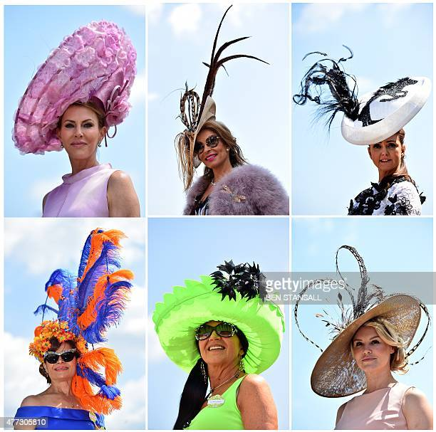 A combination of pictures created on June 16 2015 shows racegoers wearing flamboyant hats posing for photographers on the first day of the annual...