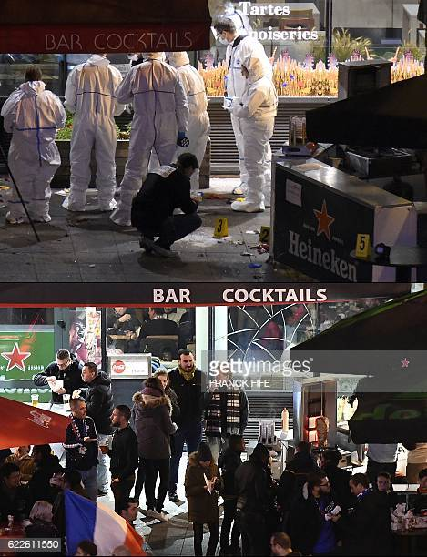 A combination of pictures created on November 12 2016 shows a file picture of forensic experts inspecting the site of an attack outside the Stade de...