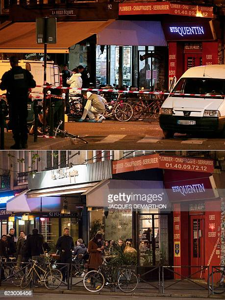 A combination of pictures created on November 13 2016 shows at top a file picture of forensic policemen searching for evidences outside the La Belle...