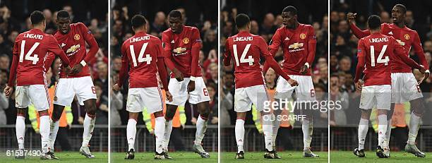 TOPSHOT A combination of pictures created on October 20 2016 shows Manchester United's French midfielder Paul Pogba doing a celebration dance with...