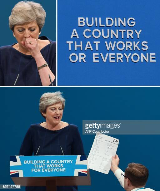 A combination of pictures created on October 4 2017 shows three moments from the speech of Britain's Prime Minister Theresa May speech on the final...
