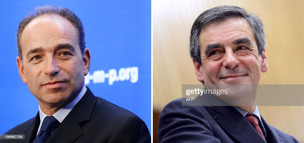 A combination of pictures made on November 26, 2012 shows a file picture taken on November 21, 2012 of newly-elected president of the right-wing UMP opposition party, Jean-Francois Cope (L) at the UMP headquarters in Paris, and a file picture taken on November 17, 2012 of France's former Prime Minister Francois Fillon (R) during a public meeting in Mouilleron-le-Captif, western France, as part of his campaign to take over the leadership of France's main right-wing opposition UMP party. Called in to mediate the leadership dispute that has thrown the country's main right-wing opposition, the UMP, into turmoil, former French prime minister Alain Juppe threw in the towel late on November 25, 2012, after only 45 minutes of talks between Fillon and his rival, party secretary general Jean-Francois Cope. Former prime minister Francois Fillon, 58, and ambitious UMP secretary general Jean-Francois Cope, 48, have traded accusations of fraud and bad faith since the November 18 party vote ended with Cope ahead by a handful of votes. The crisis has thrown the UMP into turmoil and raised the spectre of an unprecedented split on the right.
