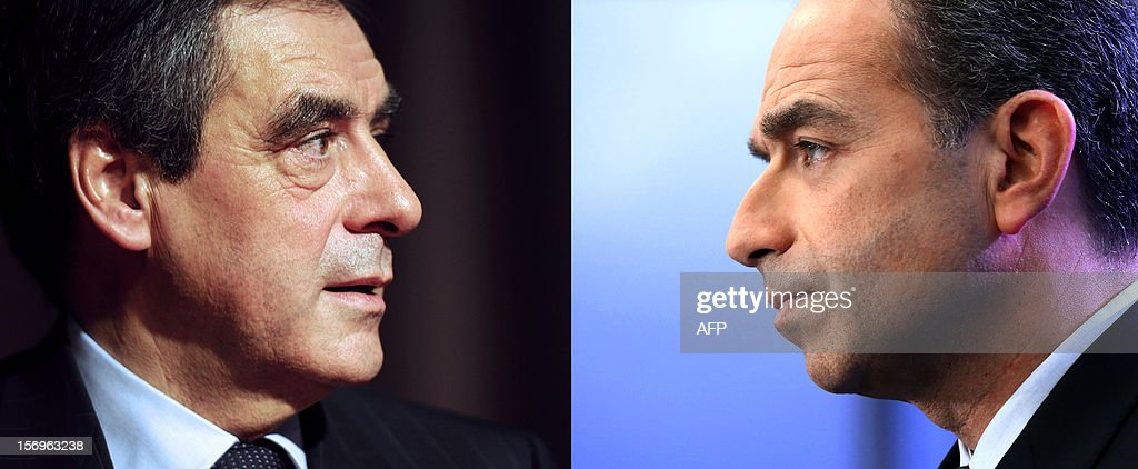 A combination of pictures made on November 26, 2012 shows a file picture taken on October 10, 2012 of former French Prime minister Francois Fillon (L) in Marseille, and a file picture taken on November 23, 2012 in Paris of UMP general secretary Jean-Francois Cope (R) in Paris. Called in to mediate the leadership dispute that has thrown the country's main right-wing opposition, the UMP, into turmoil, former French prime minister Alain Juppe threw in the towel late on November 25, 2012, after only 45 minutes of talks between Fillon and his rival, party secretary general Jean-Francois Cope. Former prime minister Francois Fillon, 58, and ambitious UMP secretary general Jean-Francois Cope, 48, have traded accusations of fraud and bad faith since the November 18 party vote ended with Cope ahead by a handful of votes. The crisis has thrown the UMP into turmoil and raised the spectre of an unprecedented split on the right.