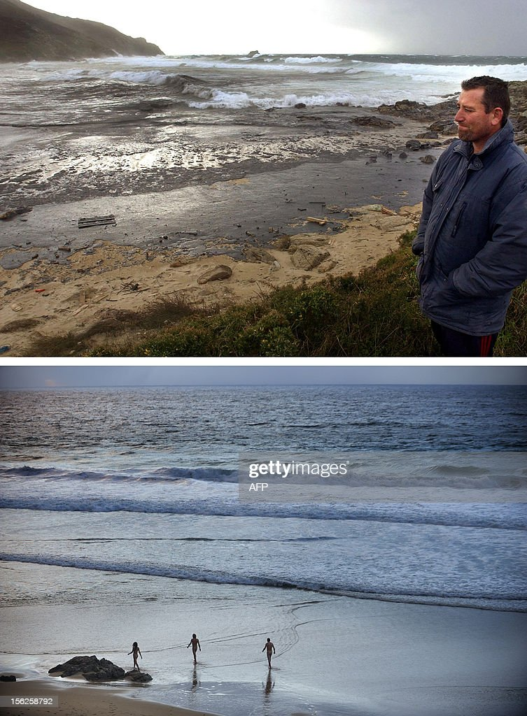 A combination of pictures shows a local resident looking at the oil covered Fora beach following the sinking of the Prestige oil tanker off Spain, in Finisterre, northwestern Spain, on December 1, 2002 (top) and nudists walking on the same beach on November 10, 2012. Ten year ago the Prestige leaked 50,000 tonnes of fuel into the Atlantic after it sank off northern Spain. It took on water in a storm on November 13, 2002, and drifted for six days before breaking up and sinking. AFP PHOTO / CHRISTOPHE SIMON / MIGUEL RIOPA