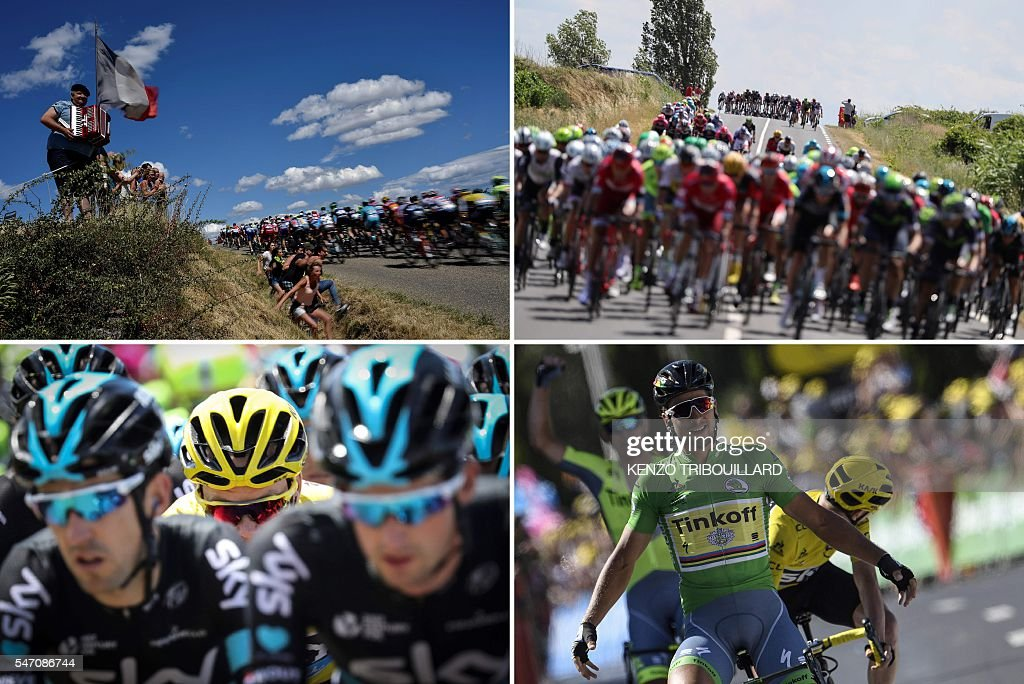 TOPSHOT - A combination of pictures shows (From L, Up to bottom) a man holding an accordion next to a French national flag as the pack rides ; cyclists riding in an echelon after the pack broke up due to hard wind ; Great Britain's Christopher Froome (C), wearing the overall leader's yellow jersey, riding surrounded by his teammates ; Slovakia's Peter Sagan (C), wearing the best sprinter's green jersey celebrating as he crosses the finish line ahead of Great Britain's Christopher Froome (R), wearing the overall leader's yellow jersey and Poland's Maciej Bodnar (L) ; as part of the 162,5 km eleventh stage of the 103rd edition of the Tour de France cycling race on July 13, 2016 between Carcassonne and Montpellier. / AFP / KENZO