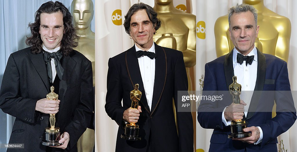A combination of pictures shows actor Daniel Day-Lewis posing with his three Oscars for Best Actor in Hollywood, California (From L): in March 2, 1990 for his role in ' My Left Foot', in February 28, 2008 for his role in 'There Will Be Blood' and in February 24, 2013 for his role in 'Lincoln'. British-Irish actor Daniel Day-Lewis wins a record third best actor Oscar on February 24, 2013 confirming his status as one of the finest actors of his generation. AFP PHOTO / Scott FLYNN / Robyn BECK / Joe KLAMAR