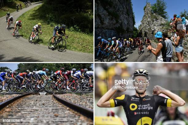 A combination of pictures shows Costa Rica's Andrey Amador and Colombia's Sergio Henao riding Great Britain's Christopher Froome wearing the overall...