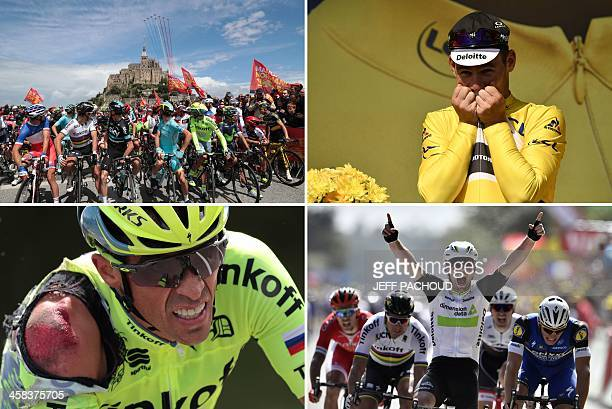 A combination of pictures shows France's Arthur Vichot Slovakia's Peter Sagan Great Britain's Christopher Froome Italy's Vincenzo Nibali Spain's...