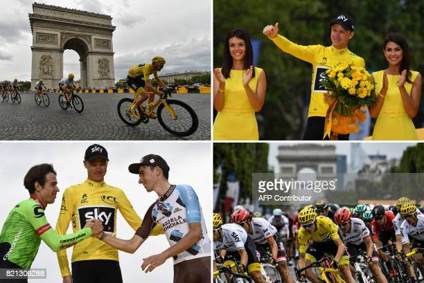 A combination of pictures shows Great Britain's Christopher Froome wearing the overall leader's yellow jersey riding past the Arc de Triomphe Tour de...