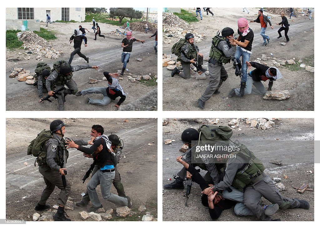 A combination of pictures shows (CW) Israeli border guard detain a Palestinian during clashes following a protest against the against the expropriation of Palestinian land by Israel on March 1, 2013, in the village of Kafr Qaddum, near the occupied West Bank city of Nablus.