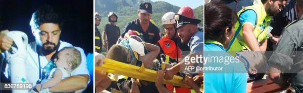 A combination of pictures shows Italian emergency workers evacuating three brothers Pasquale 7 months old Mattias 7 years old and Ciro 11 years old...