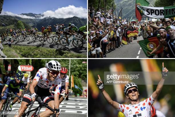 A combination of pictures shows Italy's Alberto Bettiol Luxemburg's Ben Gastauer France's PierreRoger Latour Italy's Fabio Aru wearing the overall...