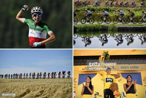 A combination of pictures shows Italy's Fabio Aru crossing the finish line Great Britain's Luke Rowe Poland's Michal Kwiatkowski Great Britain's...