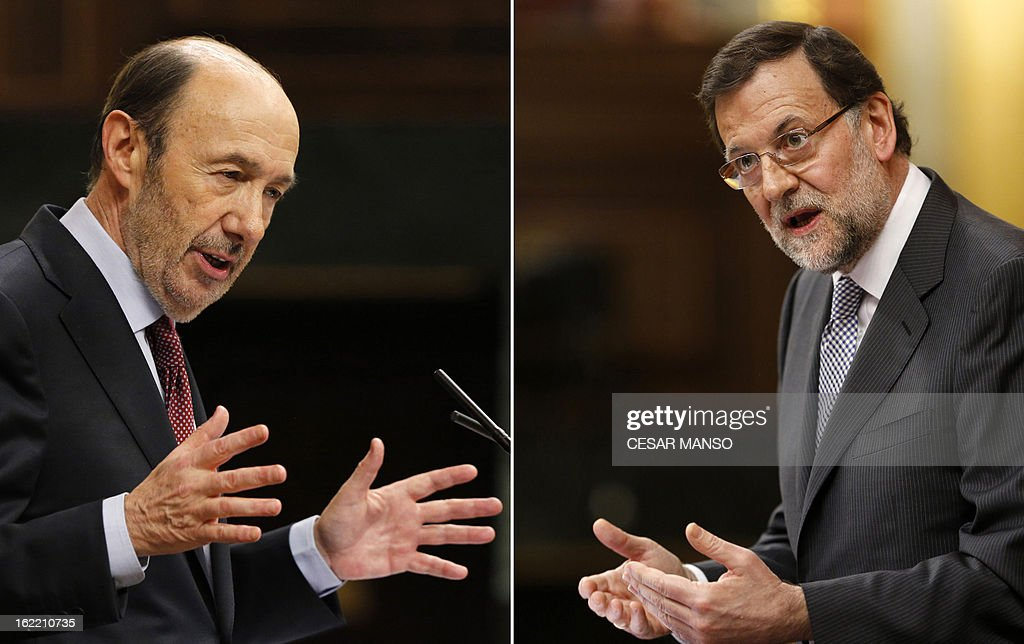 A combination of pictures shows leader of Spain's Socialist Party (PSOE) Alfredo Perez Rubalcaba (L) and Spain's Prime Minister Mariano Rajoy delivering their speech during the state of the nation debate at the Parliament in Madrid on February 20, 2013. Rajoy declared today he had saved the country from economic disaster and vowed to crack down on corruption, in his first state of the nation address as he fended off a party slush-fund scandal. AFP PHOTO / CESAR MANSO