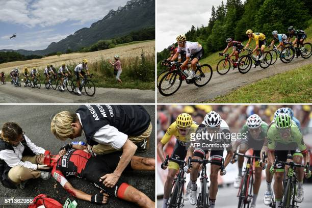 A combination of pictures shows Riders of the Great Britain's Sky cycling team Poland's Michal Kwiatkowski Colombia's Sergio Henao Spain's Mikel...