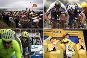 A combination of pictures shows the pack riding along the sea Slovakia's Peter Sagan sprinting to win ahead of France's Julian Alaphilippe Spain's...