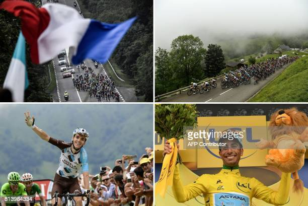 A combination of pictures shows the pack riding as a supporter waving a French national flag the pack riding in the fog France's Romain Bardet...