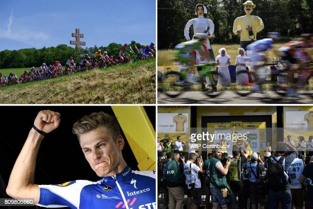 A combination of pictures shows the pack riding past a giant Cross of Lorraine honoring late French general and statesman Charles de Gaulle in...