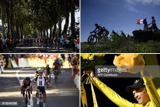 A combination of pictures shows the pack riding Switzerland's Danilo Wyss and France's Amael Moinard riding past supporters holding a French national...