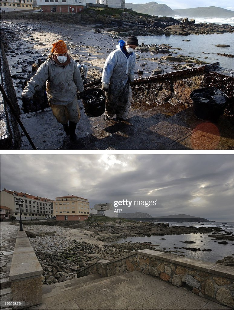 A combination of pictures shows volunteers carrying buckets of petrol in Muxia, northwestern Spain, following the sinking of the Prestige oil tanker off Spain, on November 23, 2002 (top) and the same area on November 8, 2012. Ten year ago the Prestige leaked 50,000 tonnes of fuel into the Atlantic after it sank off northern Spain. It took on water in a storm on November 13, 2002, and drifted for six days before breaking up and sinking.